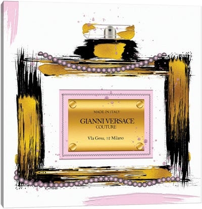 Gianni Couture Perfume Bottle Pink Canvas Art Print