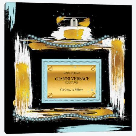 Gianni Couture Perfume Bottle Soft Blue On Black Canvas Print #POB633} by Pomaikai Barron Art Print
