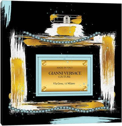 Gianni Couture Perfume Bottle Soft Blue On Black Canvas Art Print