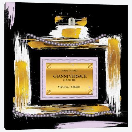 Gianni Couture Perfume Bottle Purple On Black Canvas Print #POB635} by Pomaikai Barron Canvas Artwork