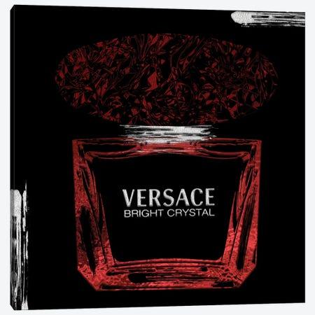 Bright Crystal Red Perfume Bottle On Black Canvas Print #POB640} by Pomaikai Barron Canvas Art