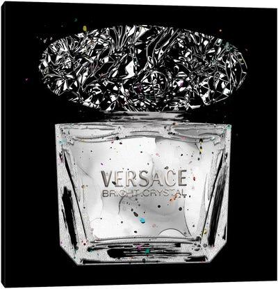 Bright Crystal All Silver Perfume Bottle On Black Canvas Art Print