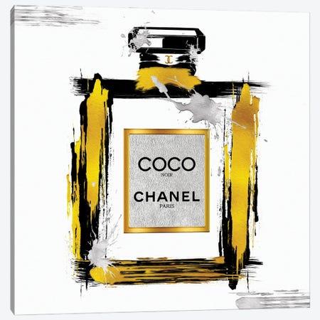 Black & Gold Noir Abstract Perfume Bottle Canvas Print #POB642} by Pomaikai Barron Canvas Artwork
