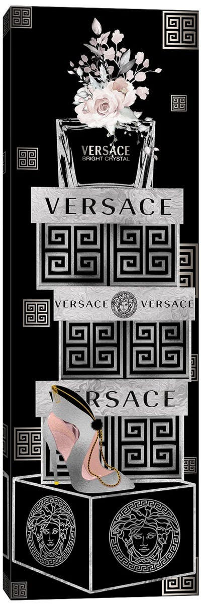 Silver & Black Perfume Bottle On Fashion Boxes With Silver Heel Bag Canvas Art Print