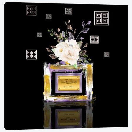 Light Purple Gold & White 'Sace Couture Perfume Bottle With Roses Canvas Print #POB672} by Pomaikai Barron Canvas Print