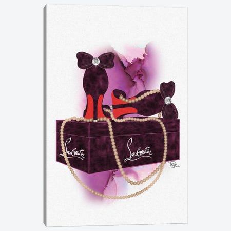 Bubu Deep Pink Heels On Gift Box With Light Brown Pearls Canvas Print #POB693} by Pomaikai Barron Canvas Art Print