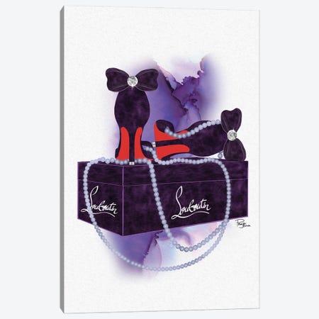 Deep Purple High Heels & Pearls On Gift Box Canvas Print #POB698} by Pomaikai Barron Canvas Art Print