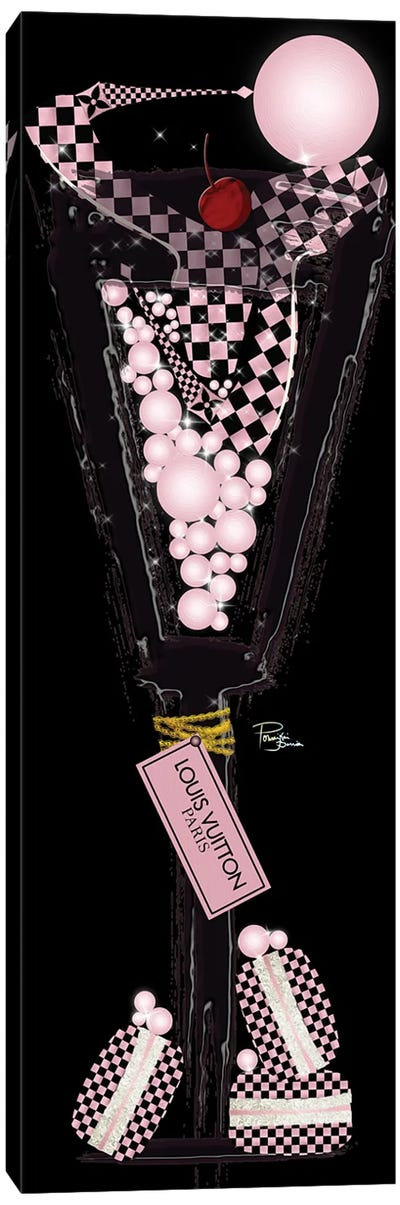 Rose Gold Black High Heels Champagne Macarons Pearls & Labels Canvas Art Print