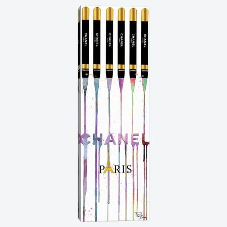 Fashion Drips Dazzle Lip Pencils On White Canvas Print #POB707} by Pomaikai Barron Canvas Artwork