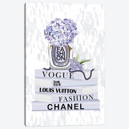 Lovely Lilac Fashion Candle With Hydrangeas On Soft Pastel Book Stack Canvas Print #POB723} by Pomaikai Barron Art Print
