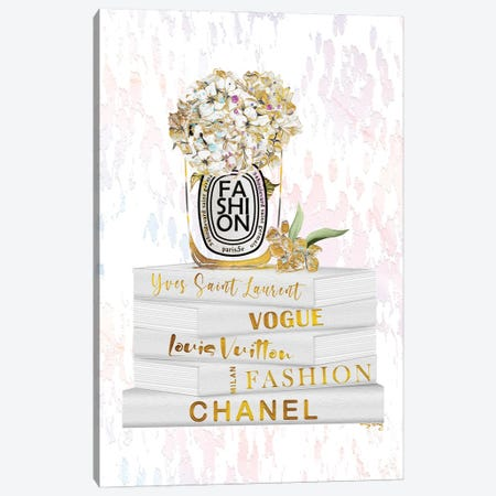Splashes Of Gold Fashion Candle With Hydrangeas On White & Gold Fashion Books Canvas Print #POB726} by Pomaikai Barron Canvas Wall Art