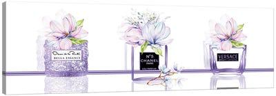 Perfume Obsession Set Of 3 Purple Perfume Bottles With Pastel Magnolias Canvas Art Print