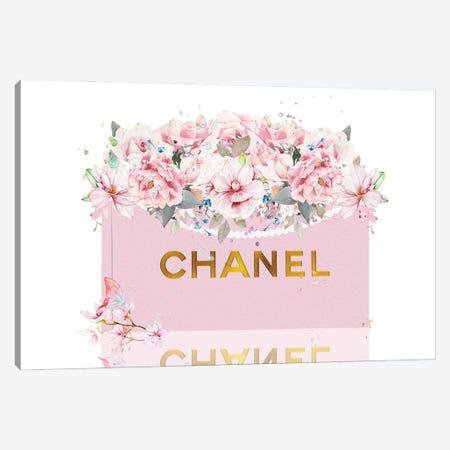 Pretty Pink & Gold Shopping Bag With Blush Roses Canvas Print #POB744} by Pomaikai Barron Canvas Art