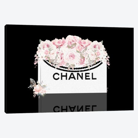White Shopping Bag With Blush Florals On Black Canvas Print #POB745} by Pomaikai Barron Canvas Art