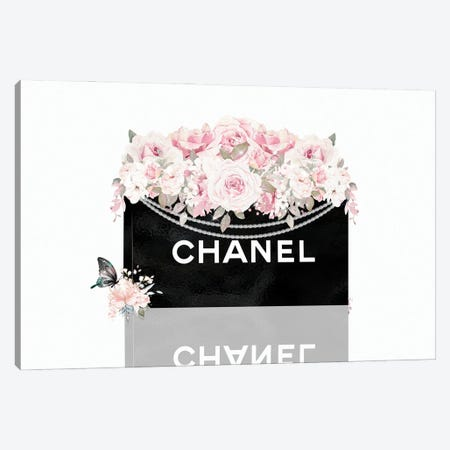 Black Shopping Bag With Blush Pink Florals Canvas Print #POB746} by Pomaikai Barron Canvas Art
