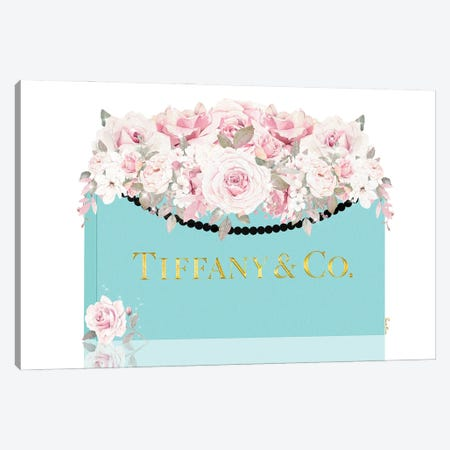 Teal & Gold Shopping Bag With Lightly Blushed Roses Canvas Print #POB747} by Pomaikai Barron Canvas Artwork