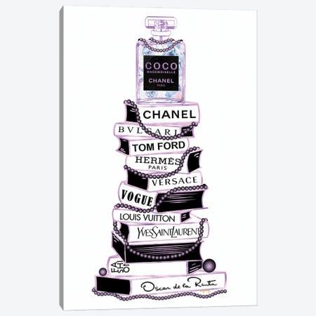 Purple & Black Mademoiselle Perfume Bottle On Extra Tall Book Stack Canvas Print #POB749} by Pomaikai Barron Canvas Print