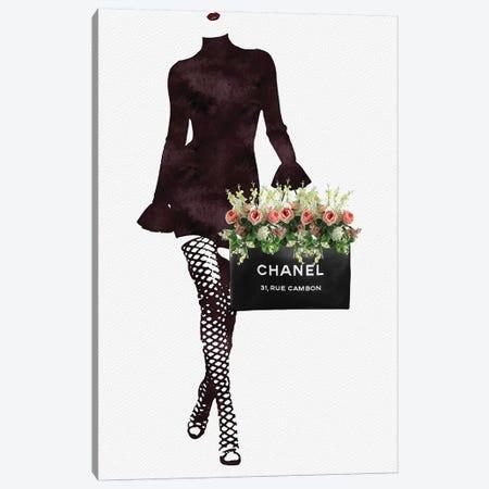 Fashion Floral Shopping Bag Canvas Print #POB74} by Pomaikai Barron Canvas Art Print