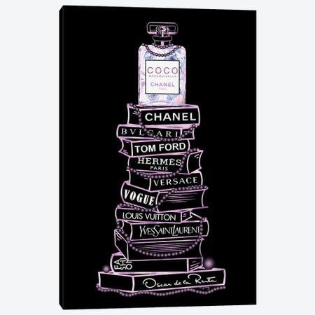 Purple Coco Perfume Bottle On Extra Tall Fashion Books On Black Canvas Print #POB750} by Pomaikai Barron Canvas Wall Art