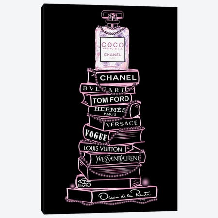 Pink Coco Perfume Bottle On Extra Tall Fashion Books With Pearls On Black Canvas Print #POB751} by Pomaikai Barron Canvas Wall Art