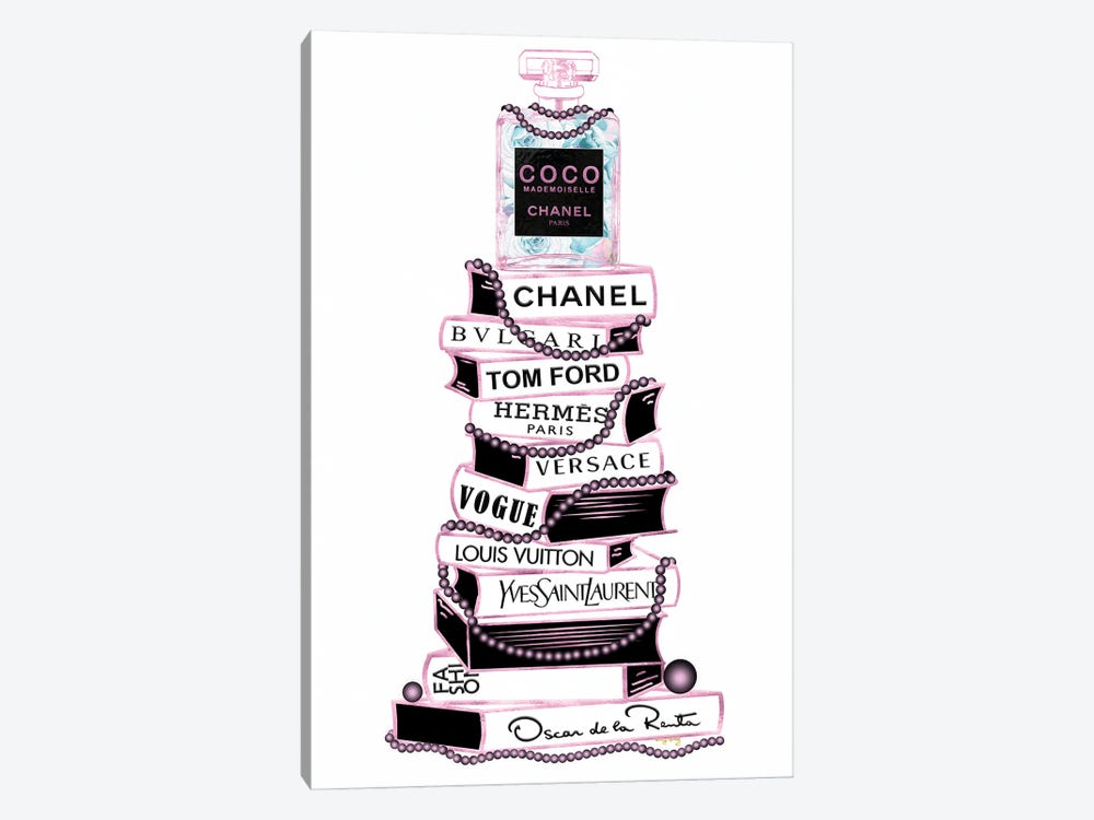 Pink & Black Coco Perfume Bottle On Extra Tall Book Stack With Pearls by Pomaikai Barron 1-piece Canvas Artwork