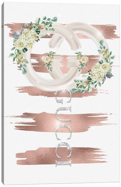 GG Rose Gold Floral Lollipop Canvas Art Print