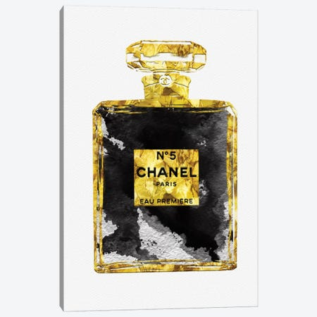 Gold Black Copper Perfume Bottle Art I Canvas Print #POB79} by Pomaikai Barron Canvas Wall Art