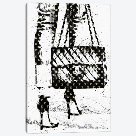 Black And White Abstract Fashion Illustration Canvas Print #POB7} by Pomaikai Barron Canvas Artwork