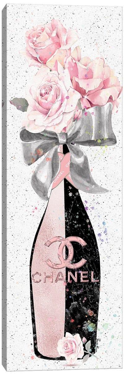 Rose Gold & Black CC Champagne Bottle With Blush Roses Canvas Art Print