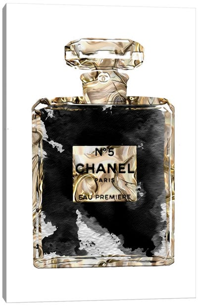 Gold Black Copper Perfume Bottle Art II Canvas Art Print