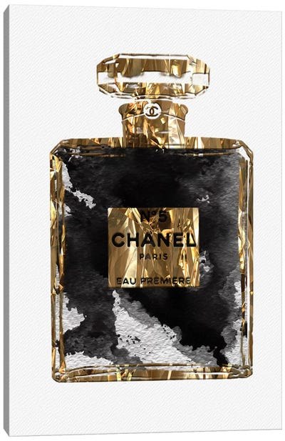 Gold Black Copper Perfume Bottle Art III Canvas Art Print