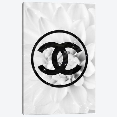 Black And White Coco Dahlia Fashion I Canvas Print #POB8} by Pomaikai Barron Art Print