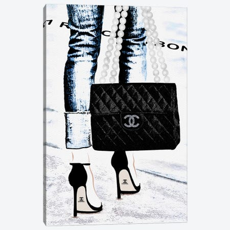 Lady With The Chanel Bag I 3-Piece Canvas #POB97} by Pomaikai Barron Canvas Art Print