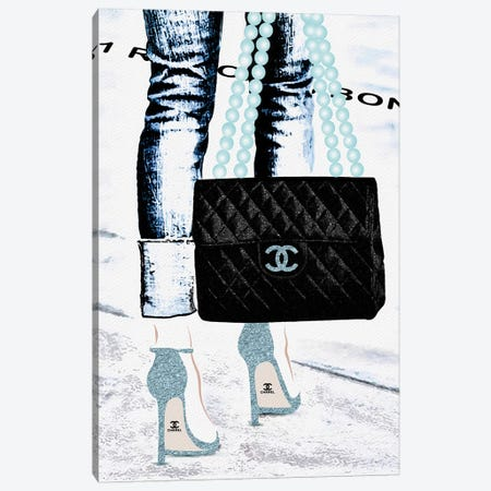 Lady With The Chanel Bag II 3-Piece Canvas #POB98} by Pomaikai Barron Canvas Artwork