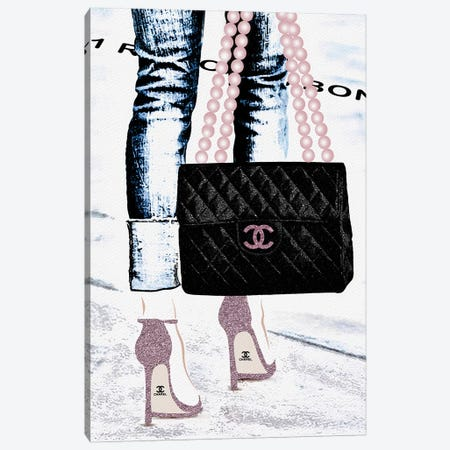 Lady With The Chanel Bag III Canvas Print #POB99} by Pomaikai Barron Canvas Wall Art