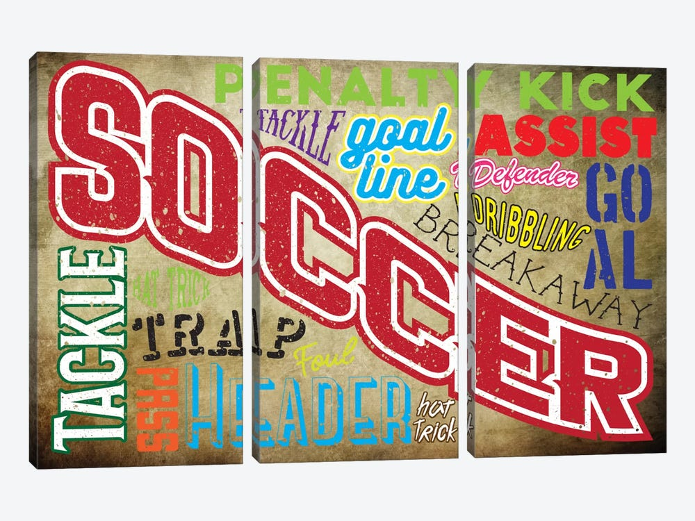 Soccer Slang by 5by5collective 3-piece Canvas Art Print
