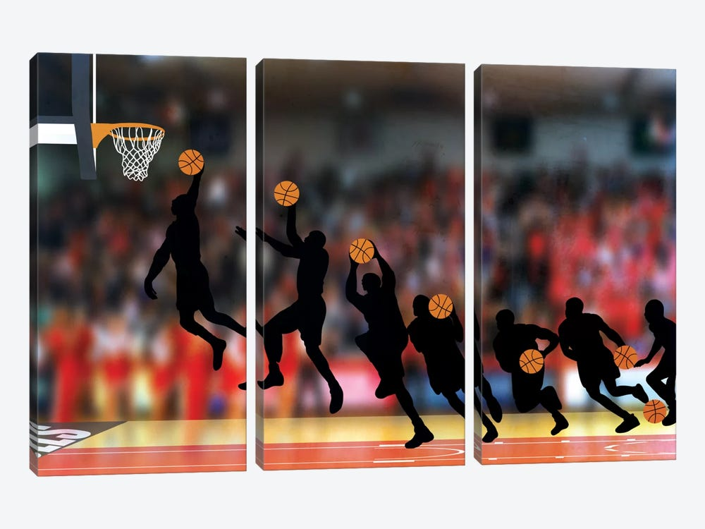 Mechanics of a Dunk by 5by5collective 3-piece Canvas Art Print