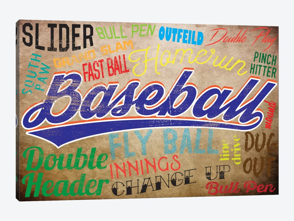 Baseball Slang by 5by5collective 1-piece Canvas Wall Art