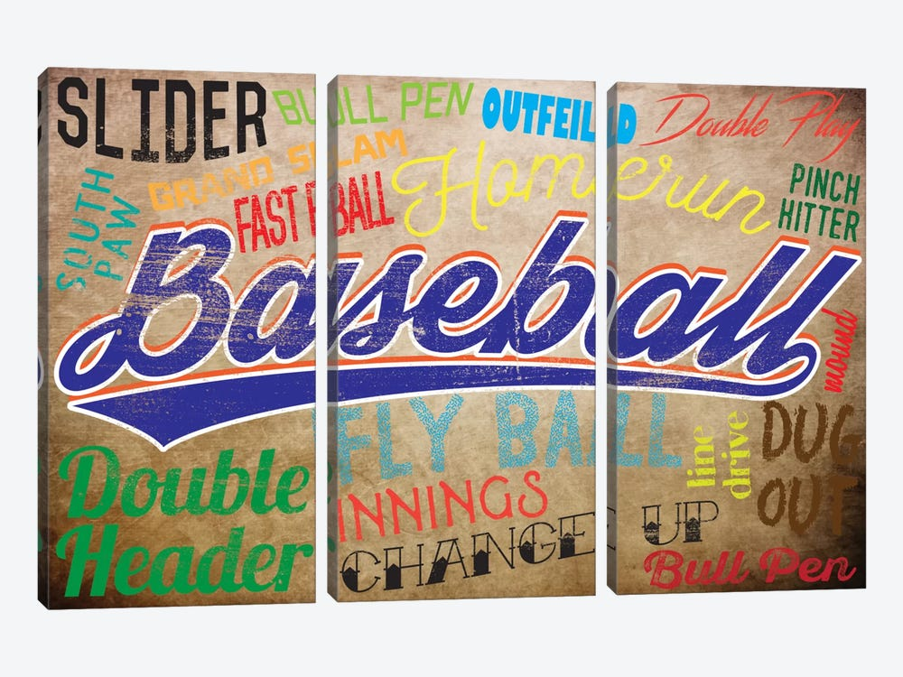Baseball Slang by 5by5collective 3-piece Canvas Art