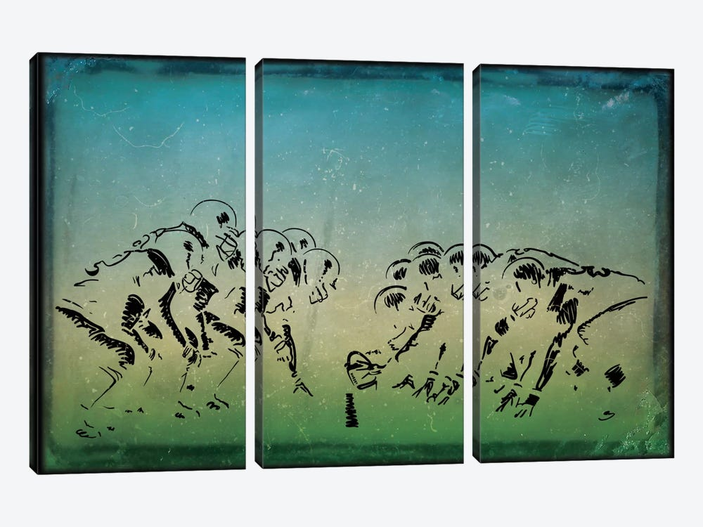 GridIron by 5by5collective 3-piece Canvas Print