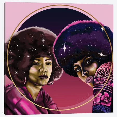 Angela And Assata 3-Piece Canvas #POI2} by Poetically Illustrated Canvas Wall Art