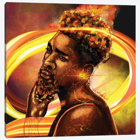 Man Of Fire Canvas Print #POI49} by Poetically Illustrated Canvas Wall Art