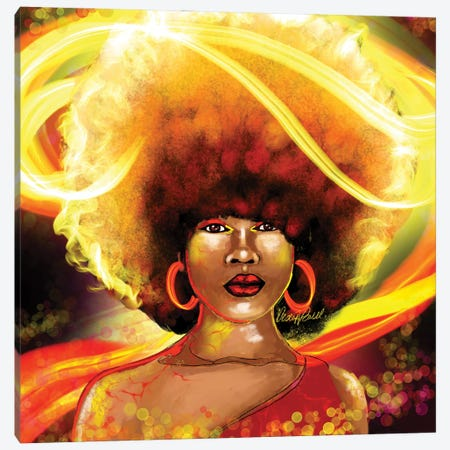 She Is Fire Canvas Print #POI50} by Poetically Illustrated Canvas Print