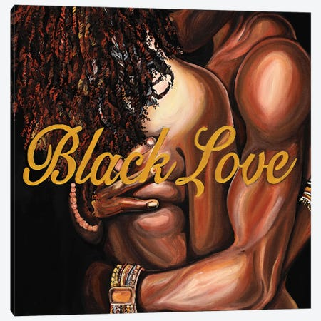 Black Love Canvas Print #POI5} by Poetically Illustrated Art Print
