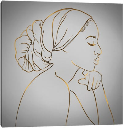 Meditation Gray Canvas Art Print