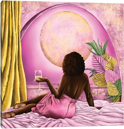 Pink Moon Glow Canvas Art Print