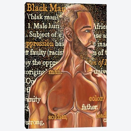 Black Man Canvas Print #POI6} by Poetically Illustrated Canvas Art Print