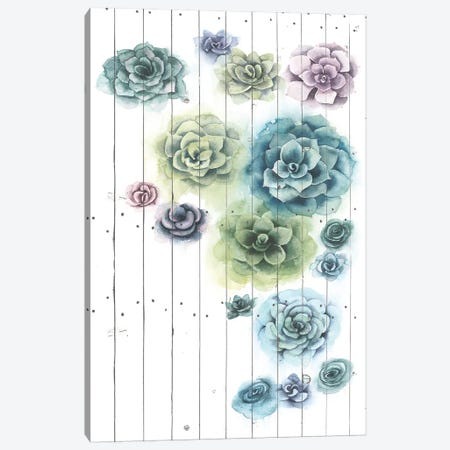 Shiplap Succulent Cluster I Canvas Print #POP1071} by Grace Popp Canvas Art