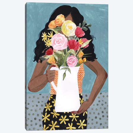 Flower Vase Girl I Canvas Print #POP1453} by Grace Popp Canvas Artwork