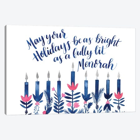 Boho Hanukkah Collection A Canvas Print #POP1610} by Grace Popp Canvas Art